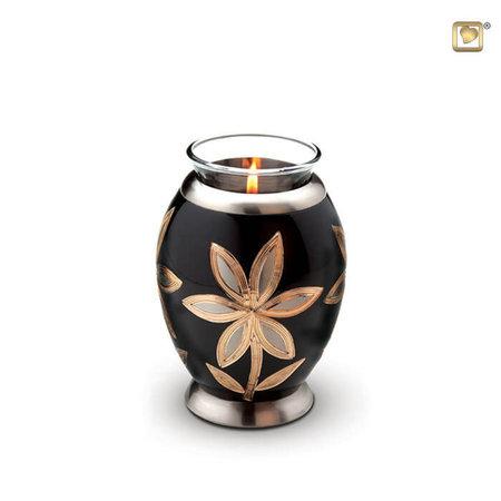 Mini-urne met theelicht. Hoogte: 12cm | Dia: 7cm